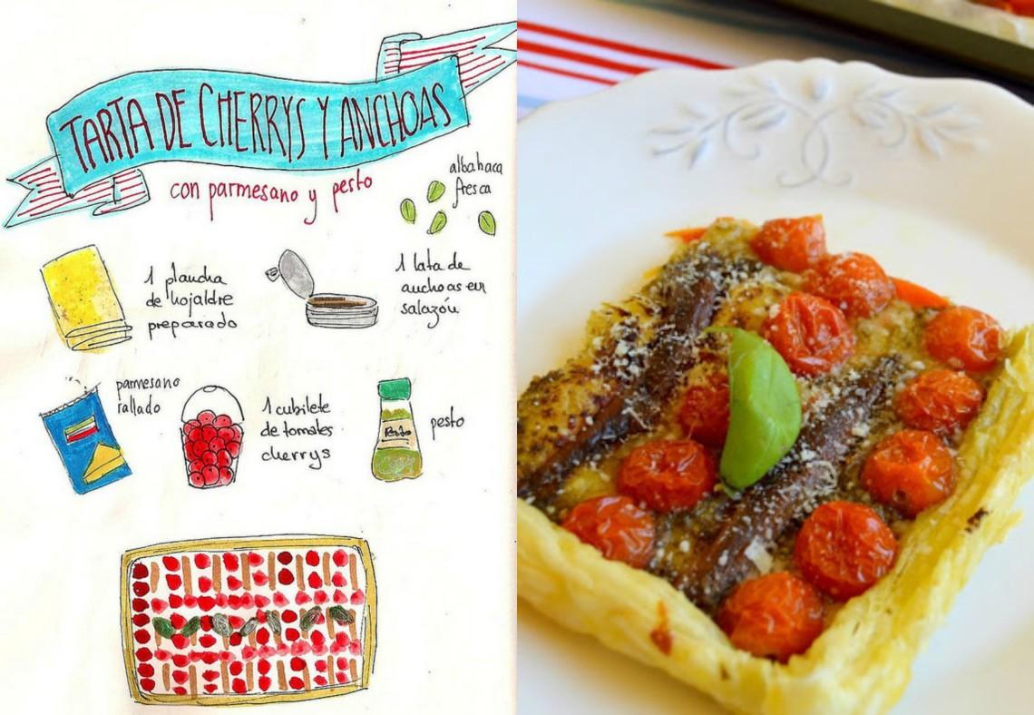 Tarta de tomates cherrys y anchoas con parmesano y pesto