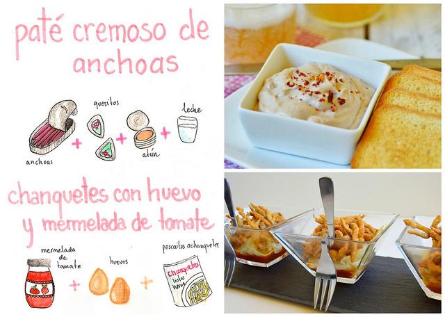 Paté cremoso de Anchoas & Vasitos de Chanquetes con huevo y mermelada de tomate