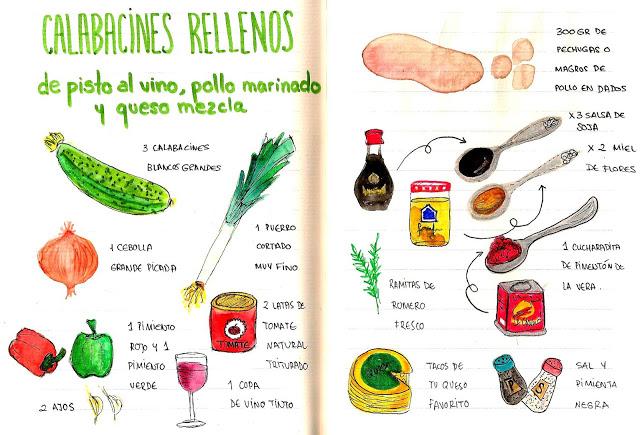 Calabacines blancos rellenos de pisto con vino tinto y pollo marinado
