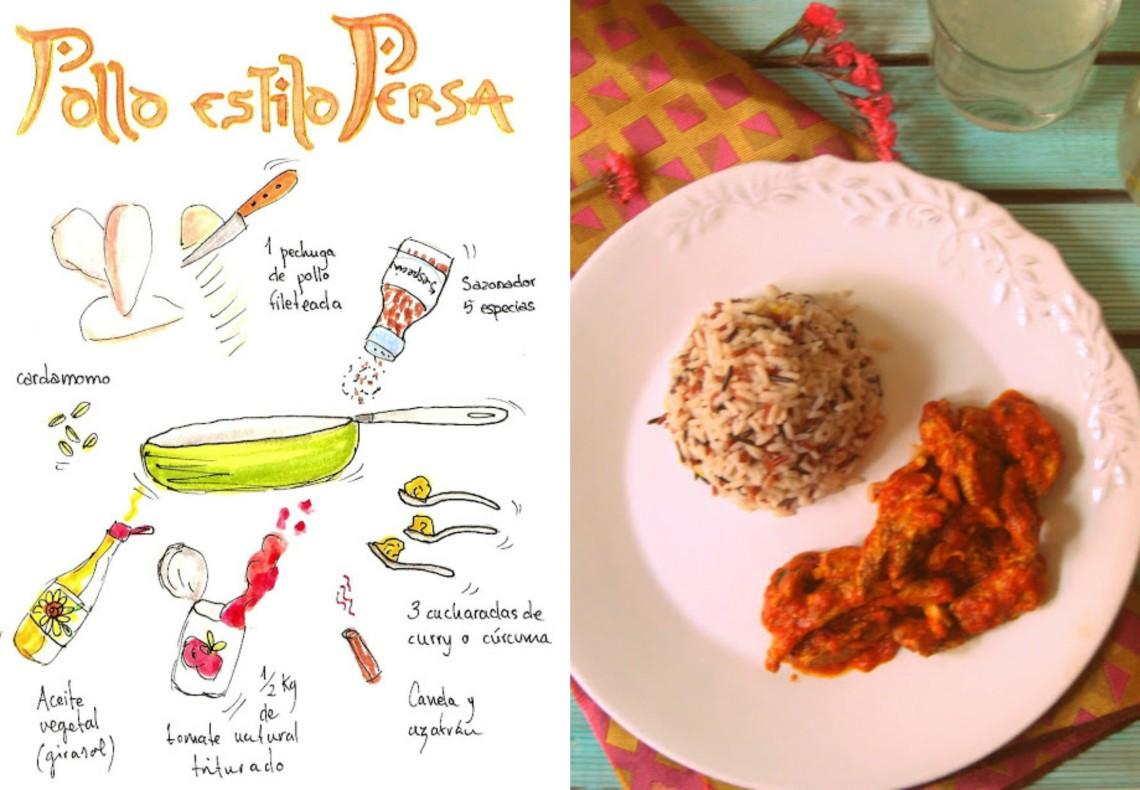 Pollo estilo persa con curry y canela