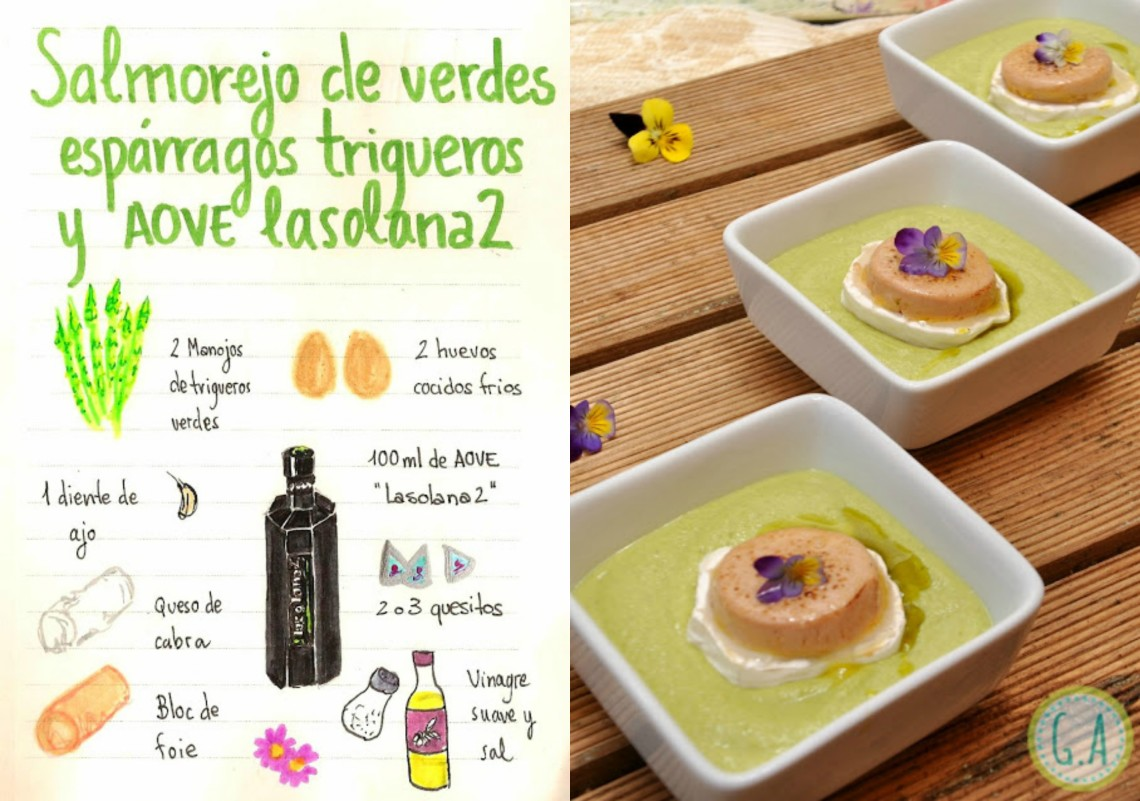 Salmorejo de espárragos trigueros con foie, queso de cabra y AOVE lasolana2