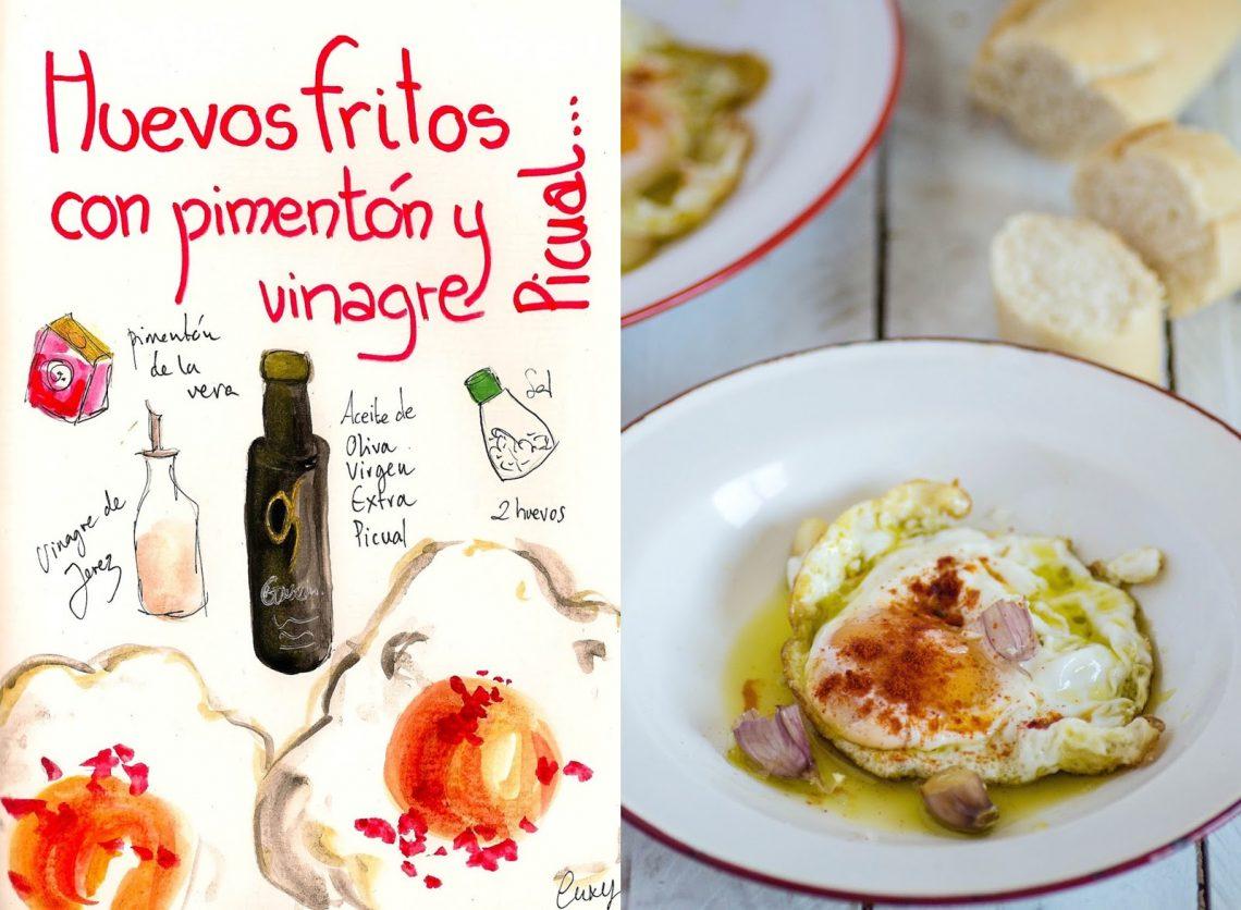 Huevos fritos con pimentón y vinagre de Jerez