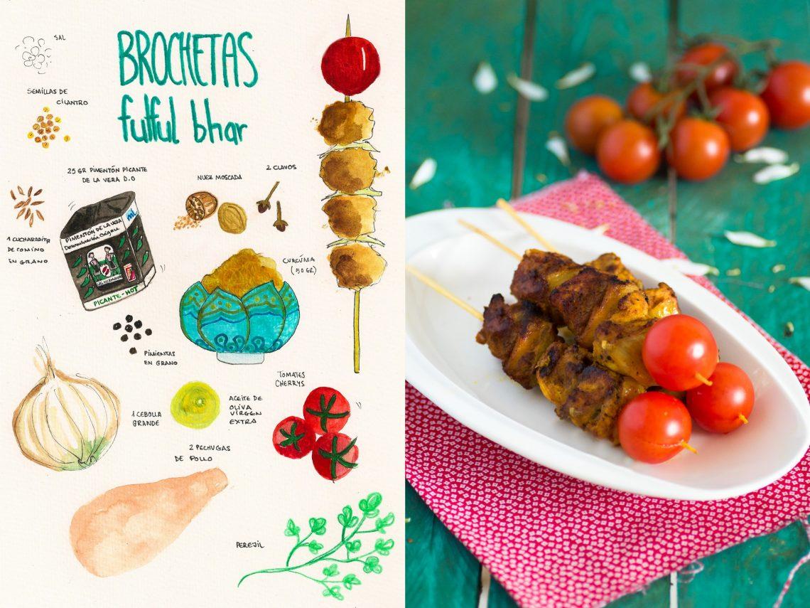 Brochetas de Pollo Fulfur Bhat