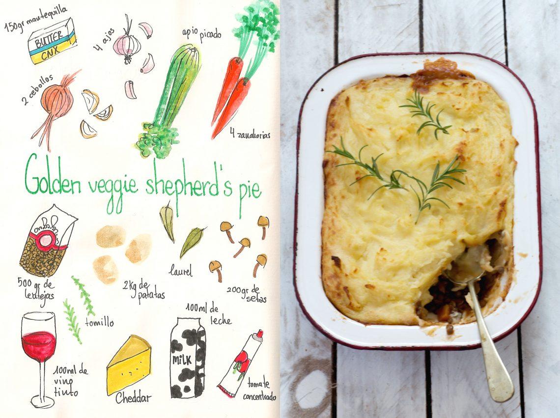 Pastel de Verduras y lentejas (Golden veggie shepherd's pie)