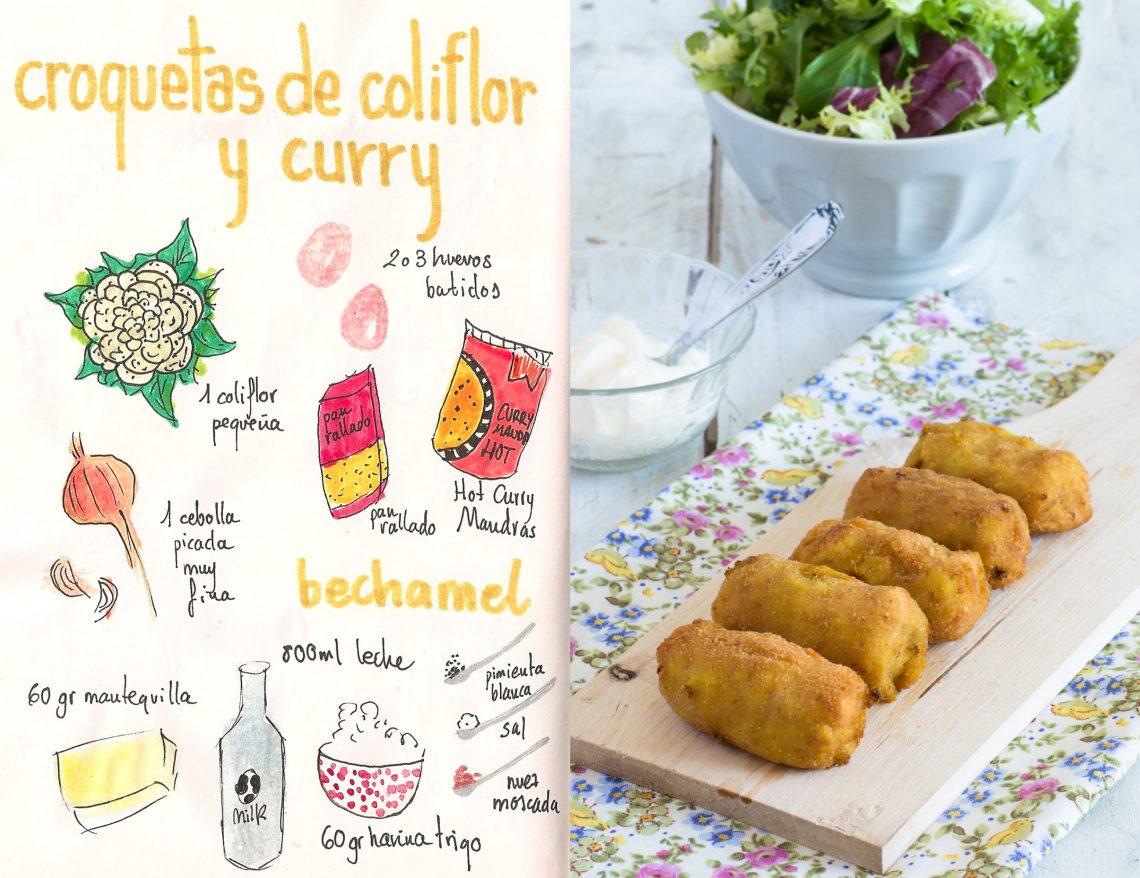 Croquetas de coliflor y curry picante