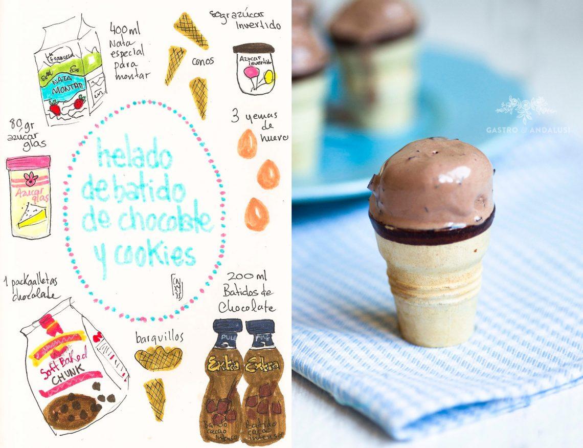 Helado de batido de chocolate y cookies