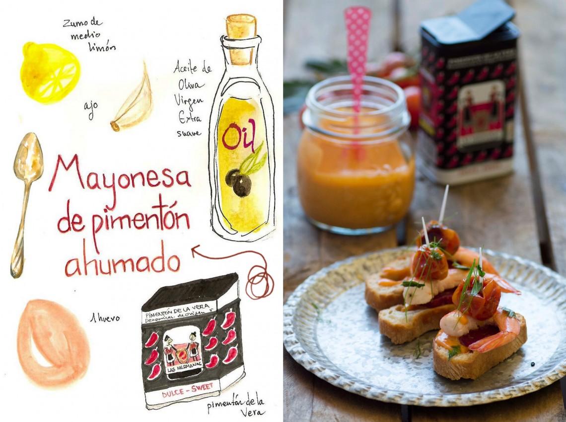 Pinchos de gambas y chorizo con mayonesa de pimentón ahumado