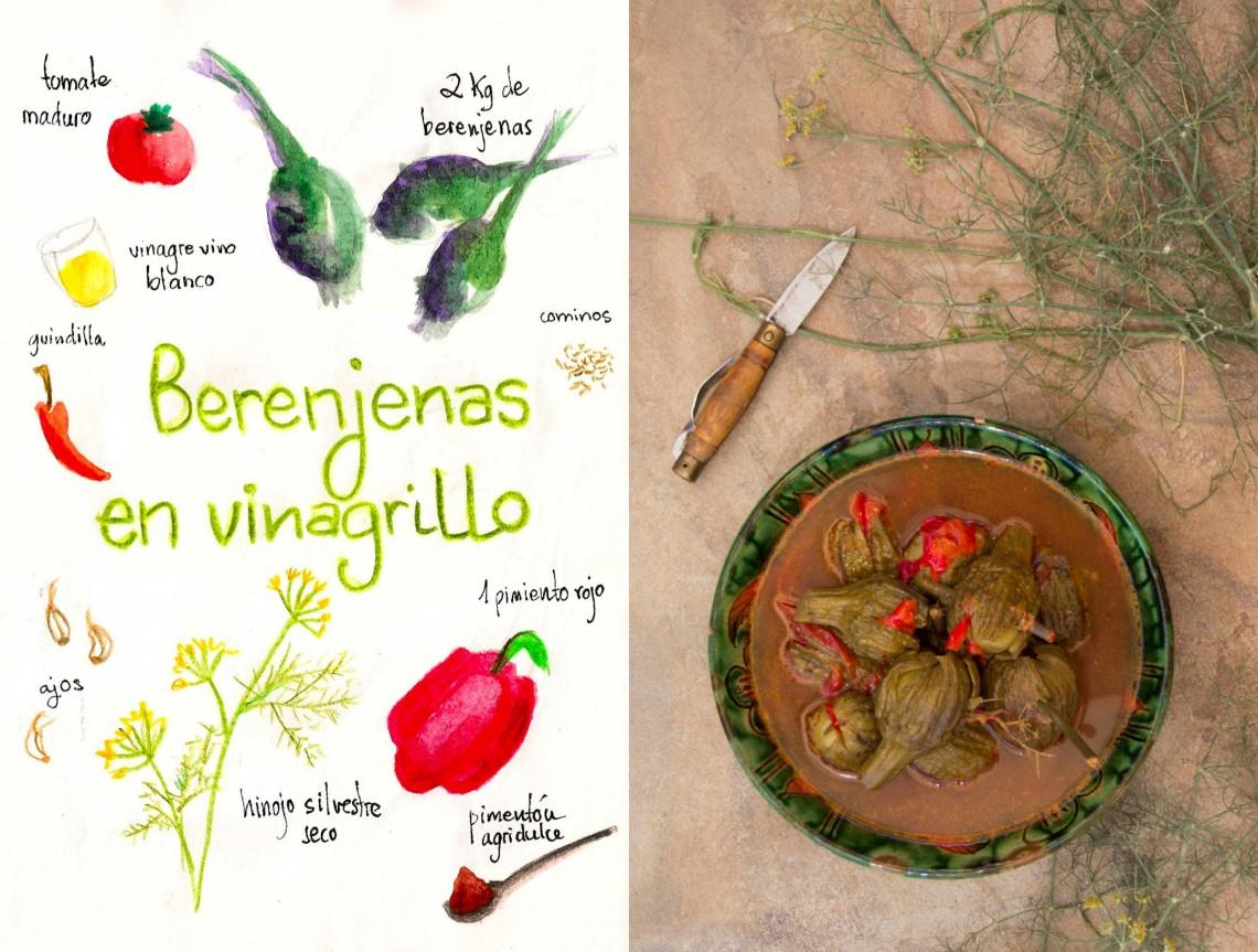 Berenjenas aliñadas con vinagre e hinojos