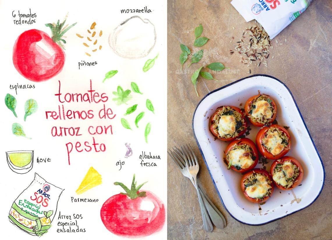 Tomates rellenos de Arroz con pesto