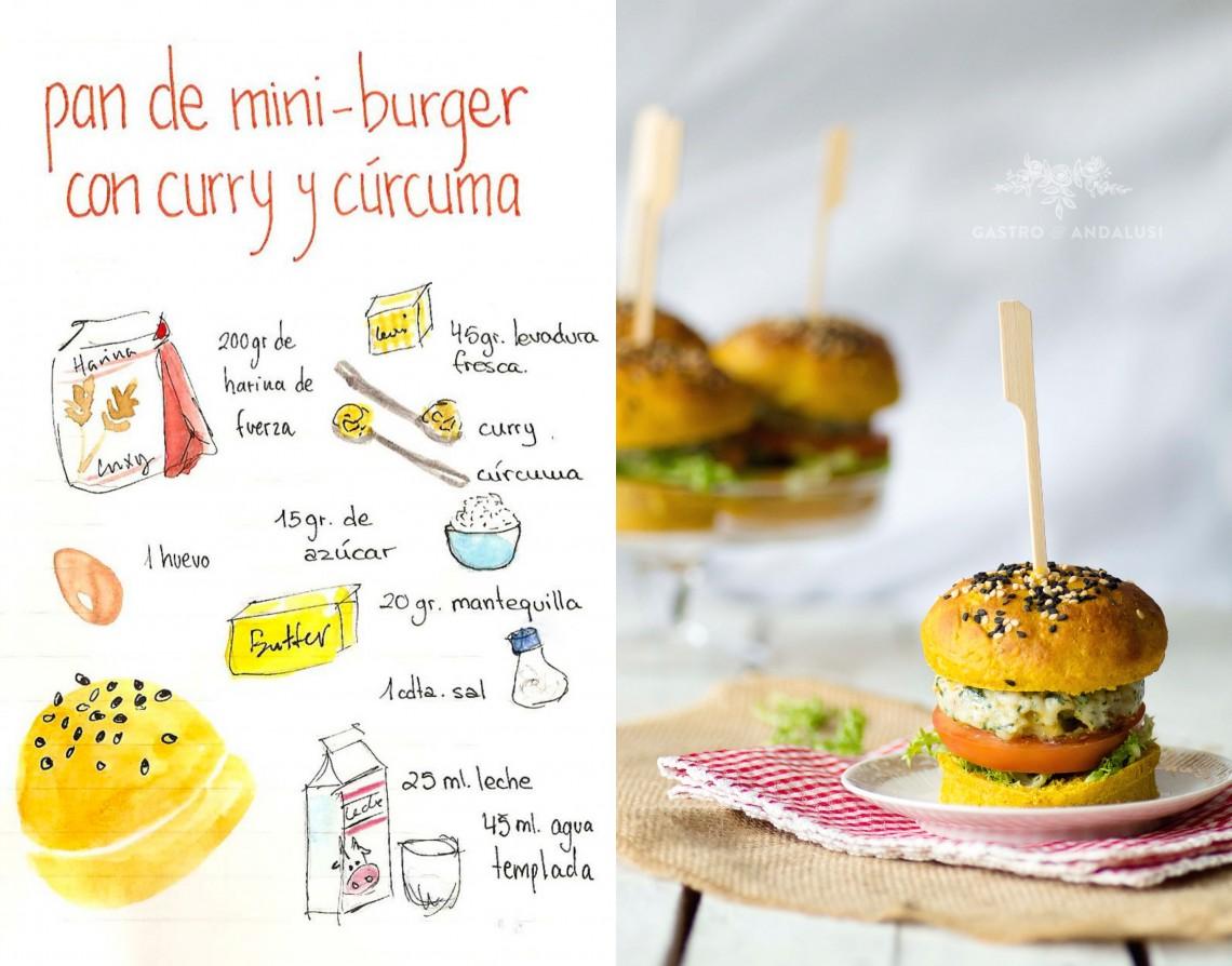 Mini-hamburguesas de pollo y espinacas con panecillos de curry y cúrcuma #lékuéburger
