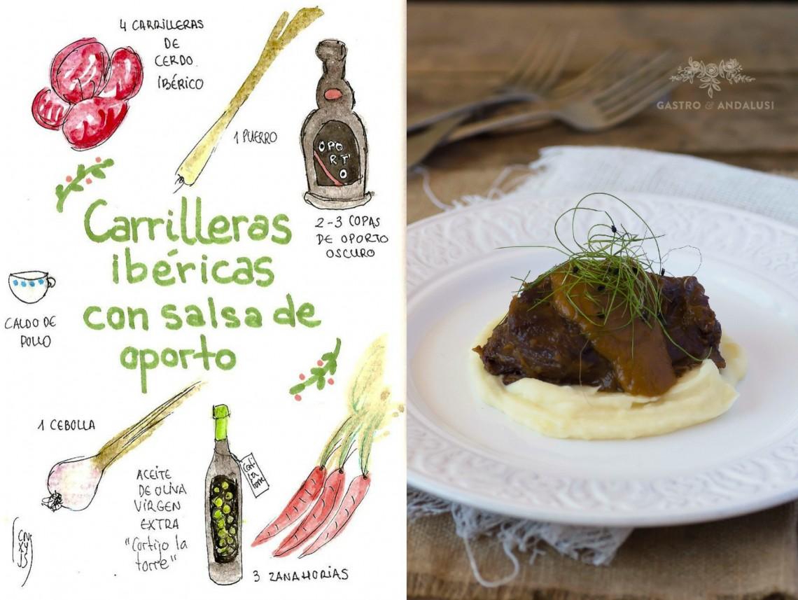 Carilleras ibéricas con salsa de oporto
