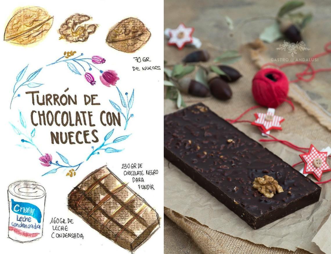 Turrón de chocolate negro con nueces #retoturron14