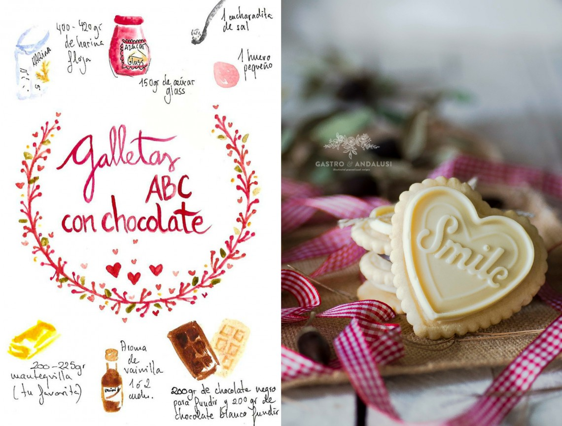Galletas corazón ABC con chocolate