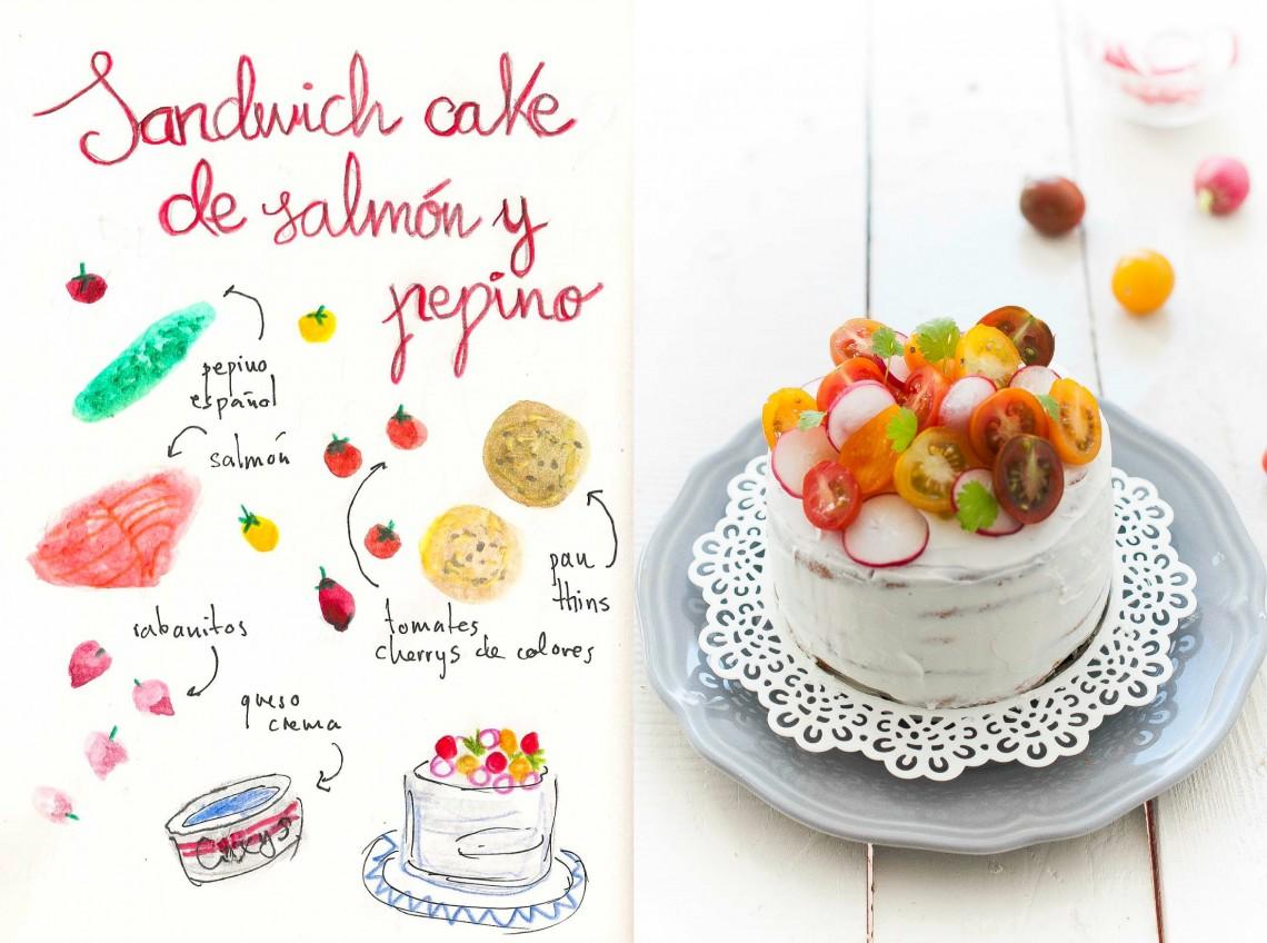 Sandwich Cake de salmón y pepino #sandwichthins