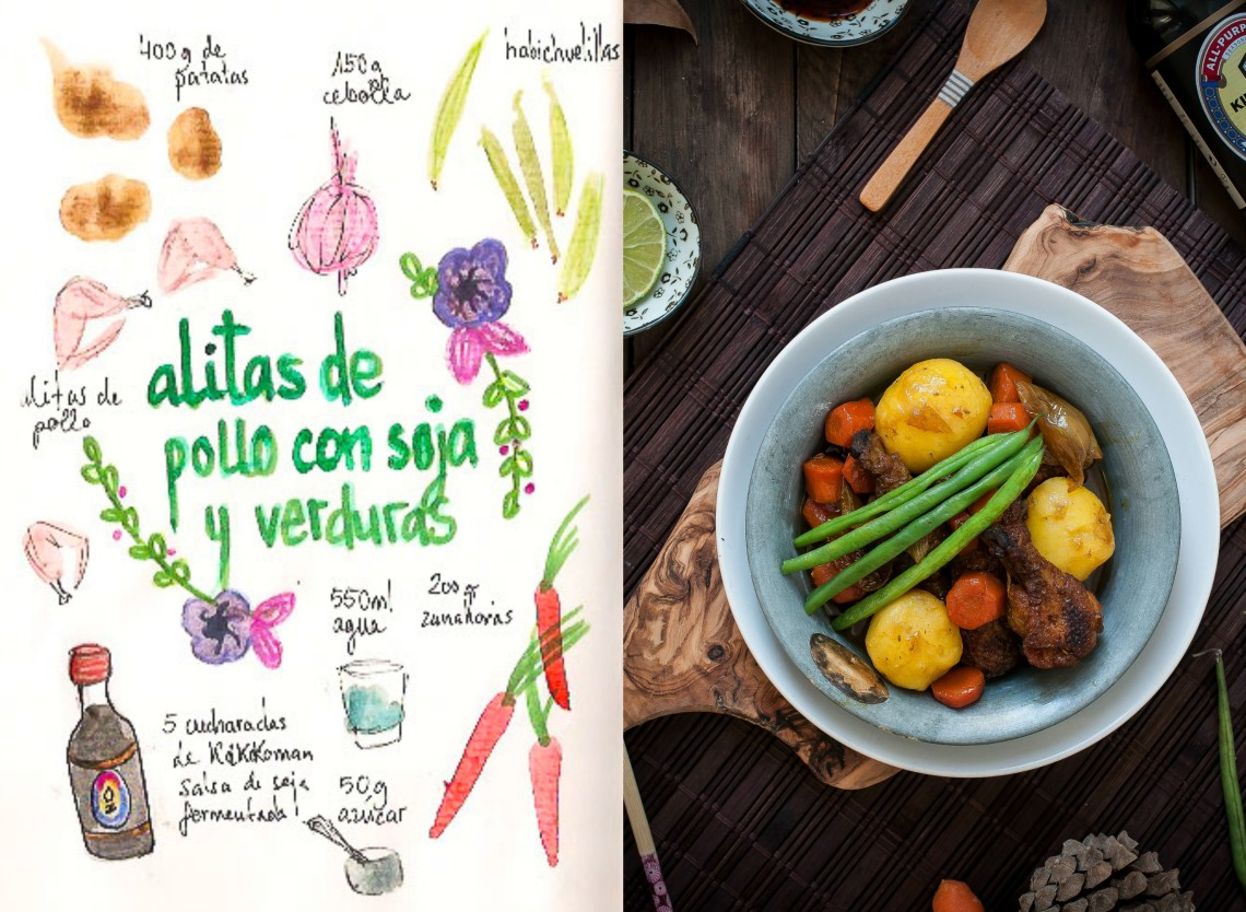 Alitas de pollo estofadas con soja y verduras