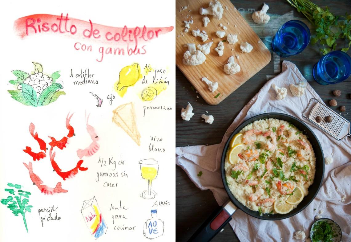Falso risotto de coliflor con gambas