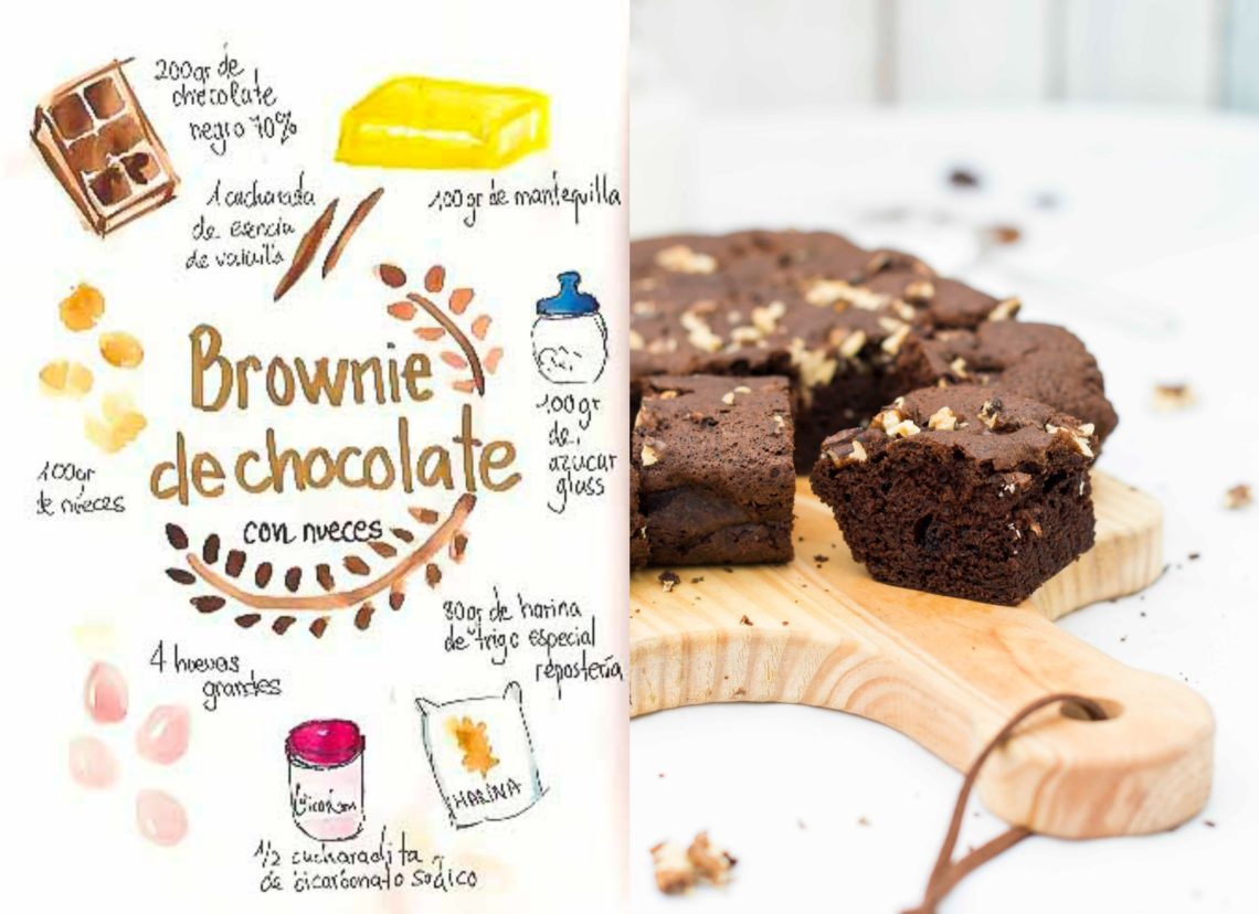 Brownie de chocolate con nueces. Receta fácil y casera