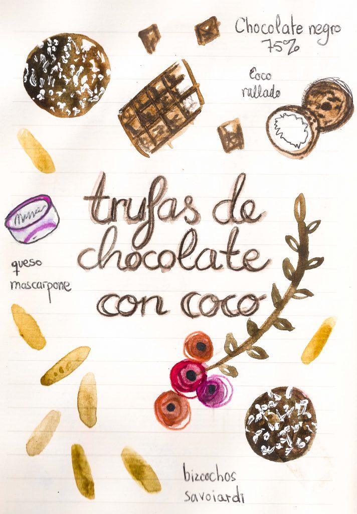 TRUFAS DE CHOCOLATE CON COCO