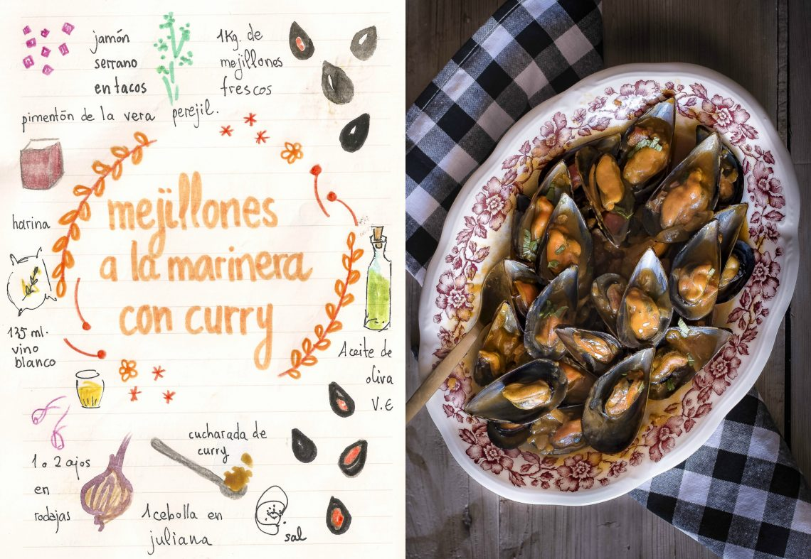 Mejillones a la marinera con jamón y curry