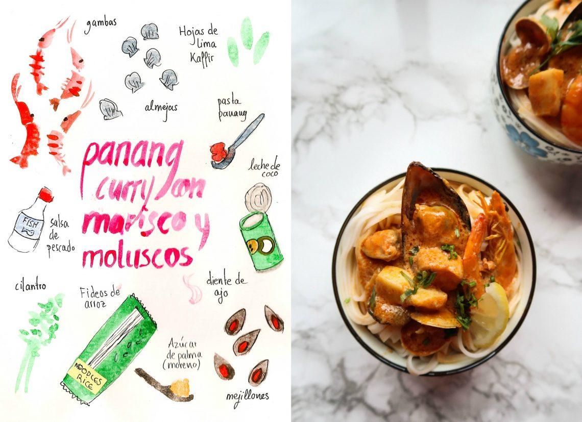 Curry Panang con marisco y moluscos
