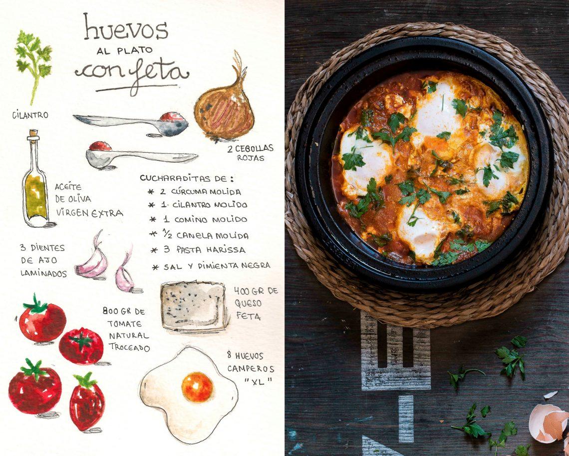 Shakshuka con feta, salsa de tomate y cilantro