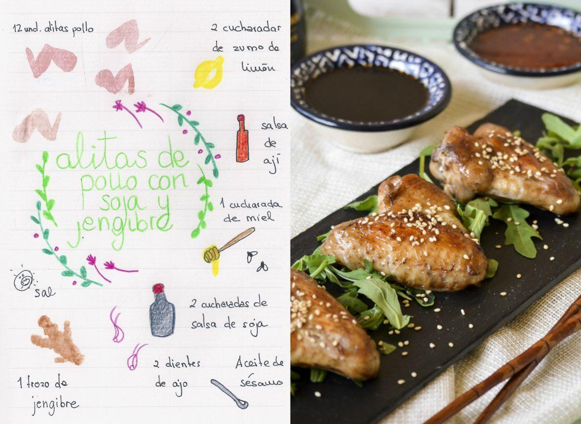 Alitas de pollo con soja y jengibre