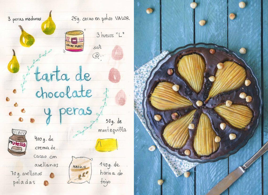 Tarta de chocolate, avellanas y peras