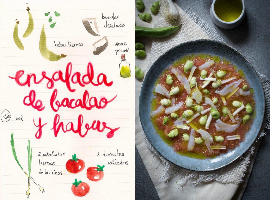 Ensalada de habas, bacalao y tomate