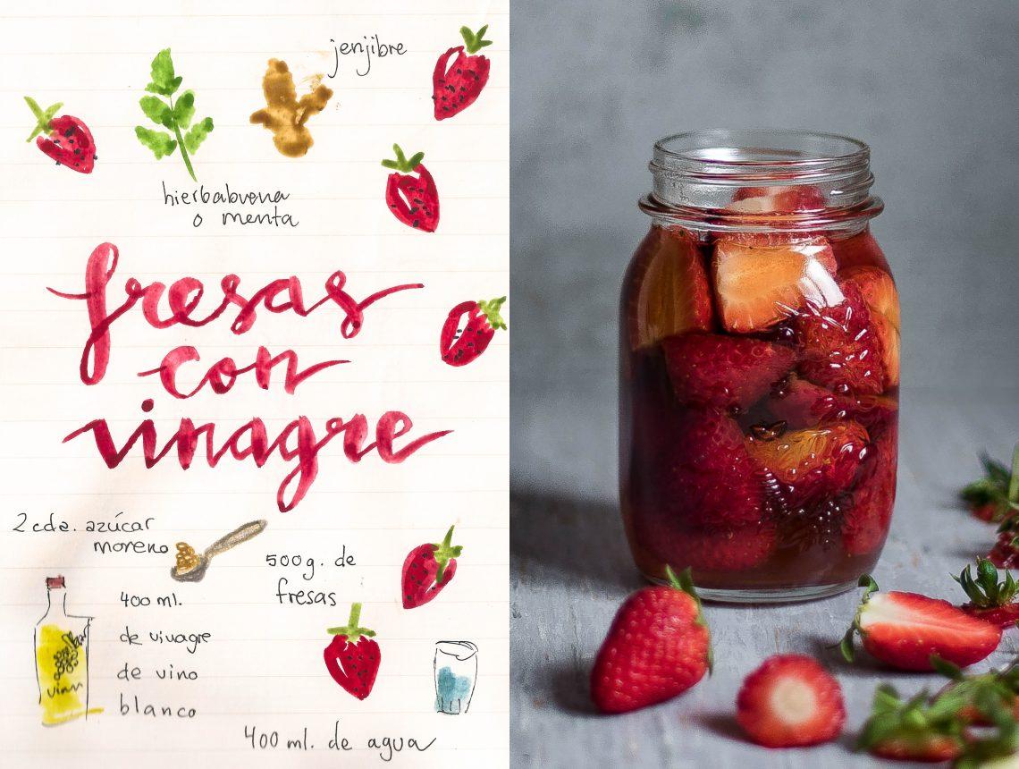 Fresas con vinagre en conserva