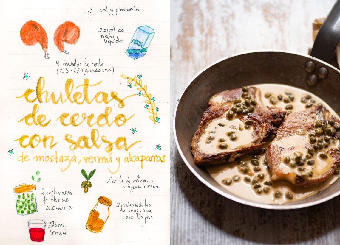 Chuletas de cerdo en salsa de mostaza, vermú y alcaparras