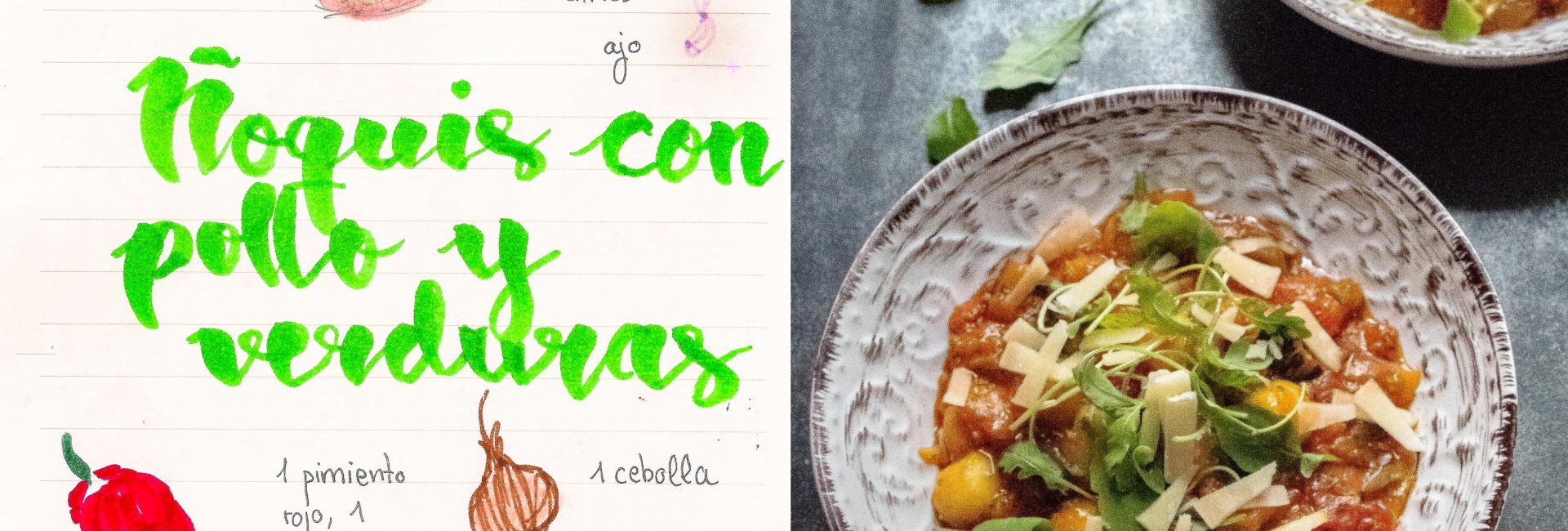 Ñoquis con pollo y verduras asadas